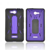 LG Lucid 4G Silicone Over Hard Case w/ Stand - Black/ Purple
