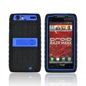 Motorola Droid RAZR MAXX Silicone Over Hard Case w/ Kickstand - Blue/ Black