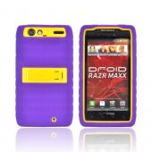 Motorola Droid RAZR MAXX Silicone Over Hard Case w/ Stand - Purple/ Yellow
