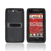 Motorola Droid RAZR MAXX Silicone Over Hard Case w/ Stand - Black