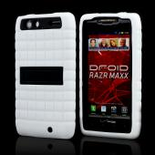 Motorola Droid RAZR MAXX Silicone Over Hard Case w/ Kickstand - White