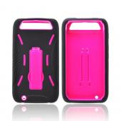 Motorola Atrix HD Silicone Over Hard Case w/ Stand - Black/ Hot Pink