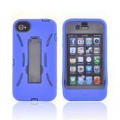 AT&amp;T/ Verizon Apple iPhone 4, iPhone 4S Silicone Over Hard Case w/ Stand - Blue/ Black