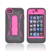 AT&T/ Verizon Apple iPhone 4, iPhone 4S Silicone Over Hard Case w/ Stand - Black/ Hot Pink