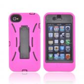 AT&amp;T/ Verizon Apple iPhone 4, iPhone 4S Silicone Over Hard Case w/ Stand - Hot Pink/ Black