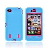 AT&amp;T/ Verizon iPhone 4/ 4S Silicone Over Hard Case - Sky Blue/ Hot Pink