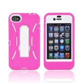 AT&amp;T/ Verizon Apple iPhone 4, iPhone 4S Silicone Over Hard Case w/ Stand - Hot Pink/ White