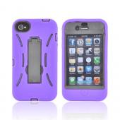 AT&T/ Verizon Apple iPhone 4, iPhone 4S Silicone Over Hard Case w/ Stand - Purple/ Black