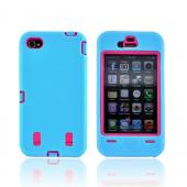 AT&amp;T/ Verizon iPhone 4, iPhone 4 Silicone Over Hard Case - Sky Blue/ Hot Pink