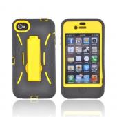 AT&amp;T/ Verizon Apple iPhone 4, iPhone 4S Silicone Over Hard Case w/ Stand - Black/ Yellow
