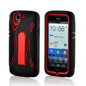 Red/ Black Silicone Over Hard Case w/ Kickstand for Pantech Flex