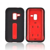 Samsung Conquer 4G Silicone Over Hard Case w/ Screen Protector - Red/ Black