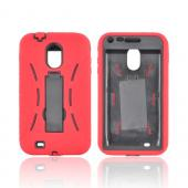Samsung Epic 4G Touch Silicone Over Hard Case w/ Stand - Red/ Black
