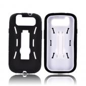 Samsung Galaxy S3 Silicone Over Hard Case w/ Kickstand - Black/ White