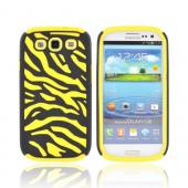 Samsung Galaxy S3 Zebra Shell on Silicone Case - Black/ Yellow Zebra