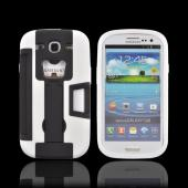 Samsung Galaxy S3 Silicone Over Hard Case w/ Bottle Opener, ID Holder &amp; Stand - Black/ White