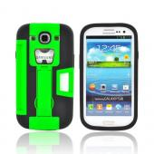 Samsung Galaxy S3 Silicone Over Hard Case w/ Bottle Opener, ID Holder &amp; Stand - Green/ Black