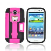 Samsung Galaxy S3 Silicone Over Hard Case w/ Bottle Opener, ID Holder & Stand - Hot Pink/ Black