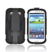 Samsung Galaxy S3 Silicone Over Hard Case w/ Detachable Stand &amp; Belt Clip - Black