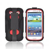 Samsung Galaxy S3 Silicone Over Hard Case w/ Detachable Stand &amp; Belt Clip - Black/ Red