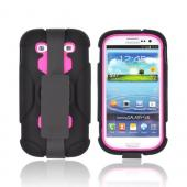 Samsung Galaxy S3 Silicone Over Hard Case w/ Detachable Stand & Belt Clip - Hot Pink/ Black