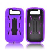 Samsung Galaxy S3 Silicone Over Hard Case w/ Kickstand - Purple/ Black