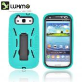 Samsung Galaxy S3 Silicone Over Hard Case w/ Stand - Seafoam Green/ Black