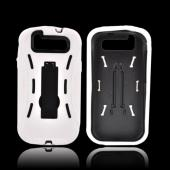 Samsung Galaxy S3 Silicone Over Hard Case w/ Kickstand - White/ Black