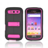 Samsung Galaxy S Blaze 4G Duo Shield Silicone Over Hard Case w/ Screen Protector &amp; Kickstand - Black/ Hot Pink