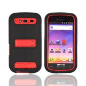 Samsung Galaxy S Blaze 4G Duo Shield Silicone Over Hard Case w/ Screen Protector &amp; Kickstand - Black/ Red