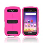 Samsung Galaxy S Blaze 4G Duo Shield Silicone Over Hard Case w/ Screen Protector &amp; Kickstand - Hot Pink/ Black