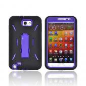 Samsung Galaxy Note Silicone Over Hard Case w/ Stand - Black/ Purple