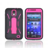Samsung Galaxy S2 Skyrocket Silicone Over Hard Case w/ Stand - Black/ Hot Pink
