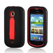 Red/ Black Silicone Over Hard Case w/ Kickstand for Samsung Galaxy Stellar