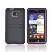 AT&amp;T Samsung Galaxy S2 Silicone Over Hard Case w/ Stand - Black/ Pink
