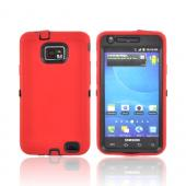 AT&amp;T Samsung Galaxy S2 Silicone Over Hard Case - Red/ Black