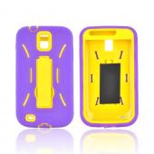 T-Mobile Samsung Galaxy S2 Silicone Over Hard Case w/ Stand - Purple/ Yellow