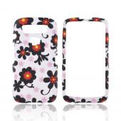 Blackberry Torch 9850 Rubberized Hard Case - Black Daisies on White