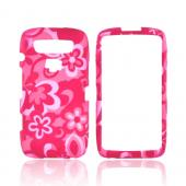 Blackberry Torch 9850 Rubberized Hard Case - Pink Flowers on Pink