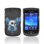 Blackberry Torch 9800 Rubberized Hard Case - Flying Blue Wing Skull on Black