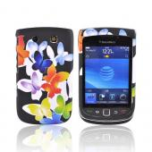 Blackberry Torch 9800 Rubberized Hard Case - Rainbow Butterflies on Black
