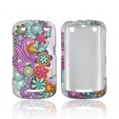 Blackberry Curve 9360 Rubberized Hard Case - Purple/ Turquoise Floral Burst