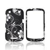 Blackberry Curve 9360 Rubberized Hard Case - White Butterflies & Flowers on Black
