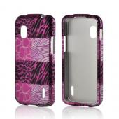 Pink Animal Print Rubberized Hard Case for LG Google Nexus 4