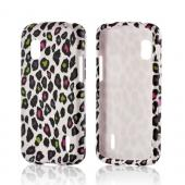 Rainbow Leopard on White Rubberized Hard Case for LG Google Nexus 4