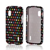 Rainbow Polka Dots on Black Rubberized Hard Case for LG Google Nexus 4