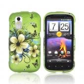 HTC Amaze 4G Rubberized Hard Case - White Hawaiian Flowers on Green