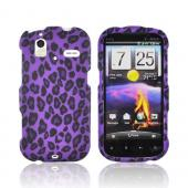 HTC Amaze 4G Rubberized Hard Case - Purple/ Black Leopard