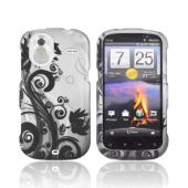 HTC Amaze 4G Rubberized Hard Case - Black Vines &amp; Flowers on Silver