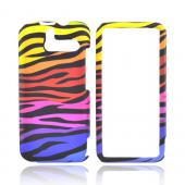 HTC Arrive Rubberized Hard Case - Rainbow Zebra on Black